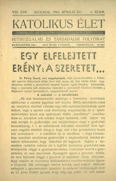 Katolikus Élet XIX. évfolyam, 1943. április