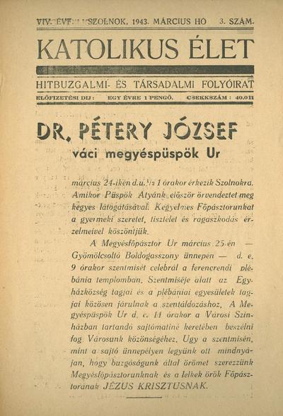 Katolikus Élet XIX. évfolyam, 1943. március