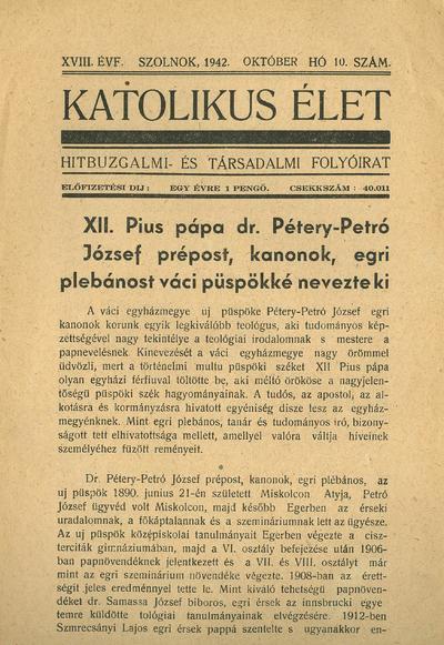 Katolikus Élet 1942. október