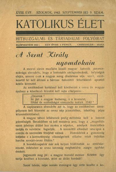 Katolikus Élet 1942. szeptember