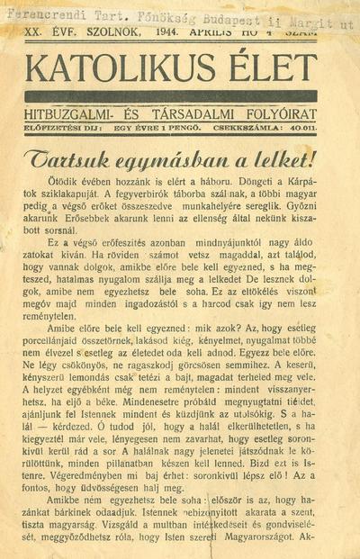 Katolikus Élet 1944. április
