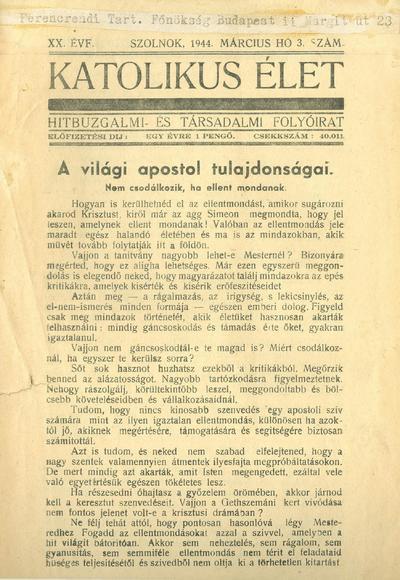 Katolikus Élet 1944. március