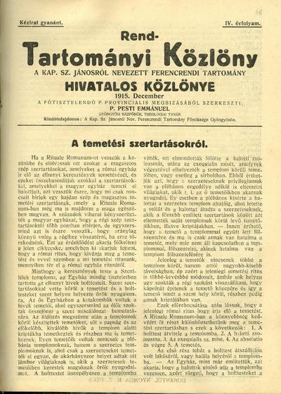 Rend-Tartományi Közlöny 1915. december