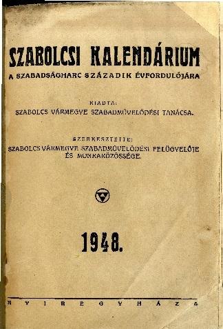 Szabolcsi kalendárium 1948.