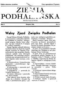 Ziemia Podhalańska. 1936, nr 2 (sierpień)