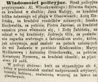 Krakowski Czas - z kroniki policyjnej 1883-1887