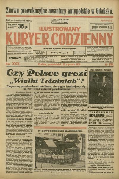Ilustrowany Kuryer Codzienny. 1939, nr 30 (30 I)
