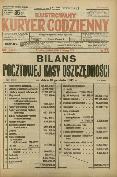 Ilustrowany Kuryer Codzienny. 1939, nr 37 (6 II)
