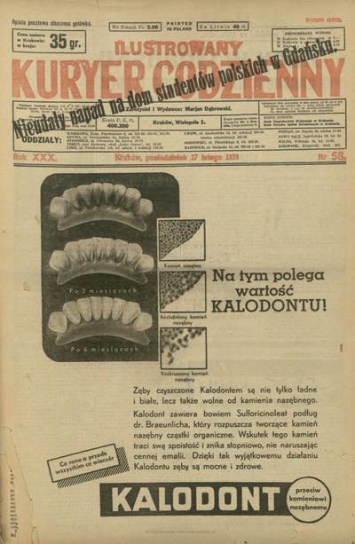 Ilustrowany Kuryer Codzienny. 1939, nr 58 (27 II)