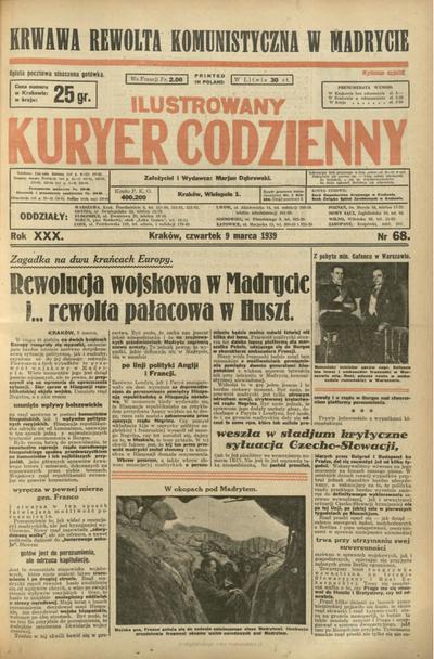 Ilustrowany Kuryer Codzienny. 1939, nr 68 (9 III)