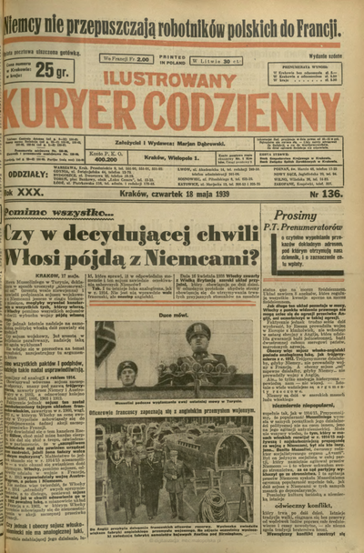 Ilustrowany Kuryer Codzienny. 1939, nr 136 (18 V)
