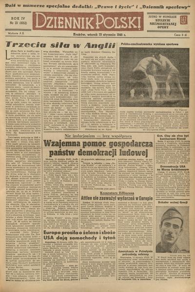 Dziennik Polski. 1948, nr 13 (13 I) = nr 1052