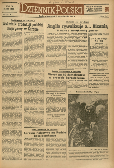 Dziennik Polski. 1948, nr 289 (21 X) = nr 1328