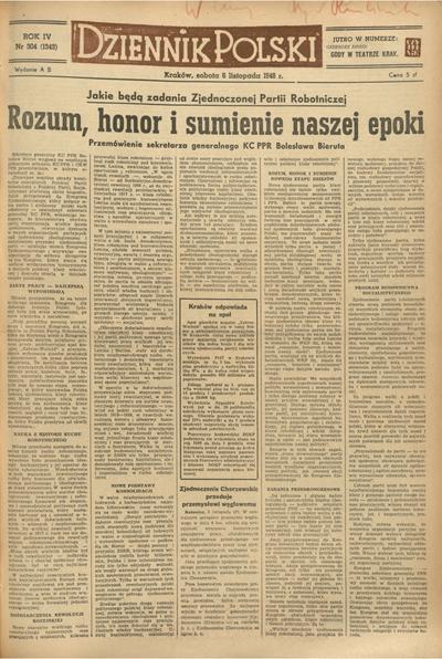 Dziennik Polski. 1948, nr 304 (6 XI) = nr 1343