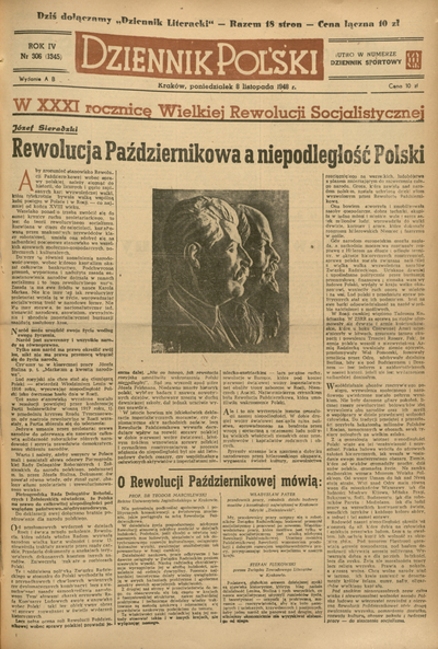 Dziennik Polski. 1948, nr 306 (8 XI) = nr 1345