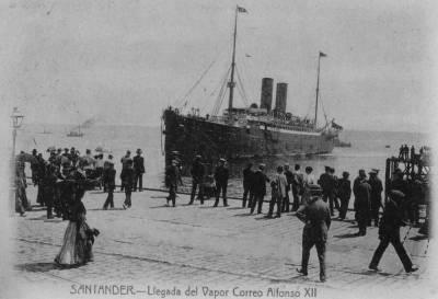 Vapor ALFONSO XII 3 , de la Cia Trasatlantica , al port de Santander