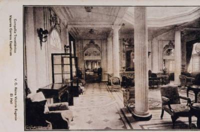 Vapor REINA VICTORIA EUGENIA , de la Cia Trasatlantica , sala d'estar , vestíbul