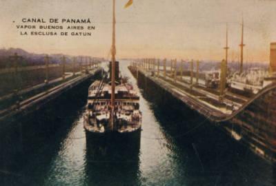 Vapor BUENOS AIRES , de la Cia Trasatlantica , al Canal de Panamà .