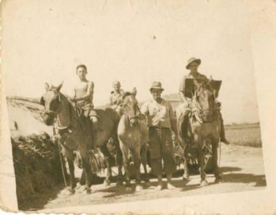 Plantadors d'arròs amb els carruatges de transport