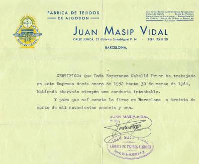 Esperança Caballé - Certificat de treball durant 10 anys a empresa tèxtil Can Saladrigas