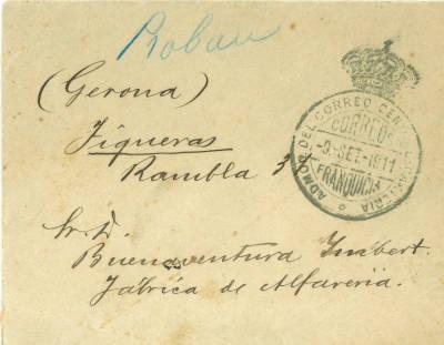 Sobre timbrat adreçat a Sr. D. Buenaventura Ymbert. Fábrica de alfareria