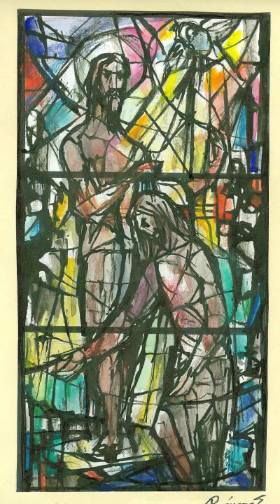 Esbós de vitrall de Sant Joan Baptista