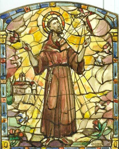 Esbós vitrall de Sant Francesc