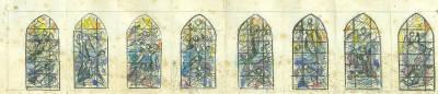 Esbós de projecte de vitralls dedicats als Àngels