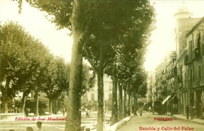 Postal de la Rambla de Figueres de Josep Masdevall