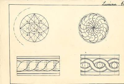 Dibuix a tinta de les motllures utilitzades per Josep Romero.