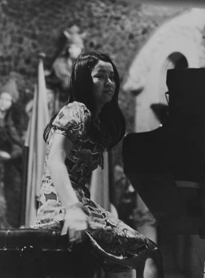 La  pianista japonesa Toshiko Ohta, durant la prova final de la XIX edició del Concurs Maria Canals, al Palau de la Música Catalana.
