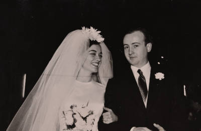Paulina Angel Caldentey i Joan de Sagarra Devesa, el dia del seu casament