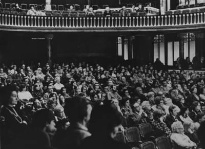 Vista general del públic del Palau de la Música Catalana,  durant la prova final de la XIX edició del Concurs Maria Canals, al Palau de la Música Catalana.