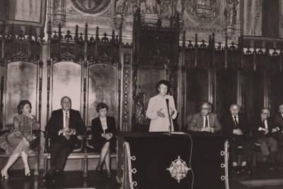 Parlament de Mercè Sala durant l'acte de cloenda del XXIX Concurs Maria Canals al Saló de Cent de l'Ajuntament de Barcelona