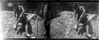 Excursionista sobre roca a Sant Maurici
