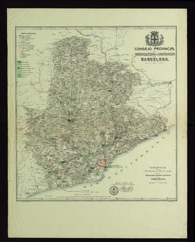 Gráfico de la distribución y rádio de acción de las asociaciones agrícolas existentes en la província