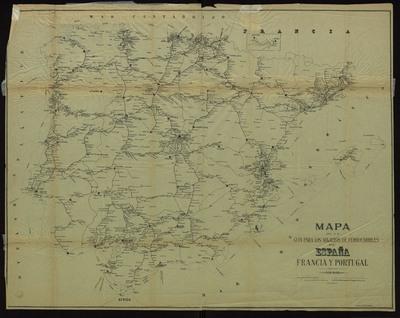 Mapa de la guia para los viajeros de ferrocarriles de España, Francia y Portugal