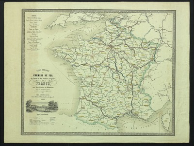 Carte spéciale des chemins de fer, des canaux et des rivières navigables de la France