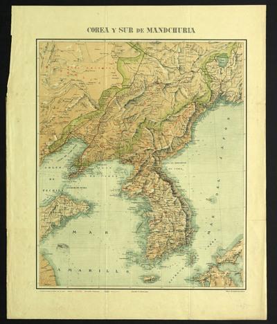 Mapa de la Corea y del sur de Mandchuria : formado con los datos existentes en el Depósito de la Guerra