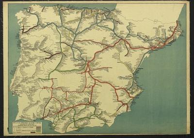 Mapa de los ferrocarriles de España y Portugal