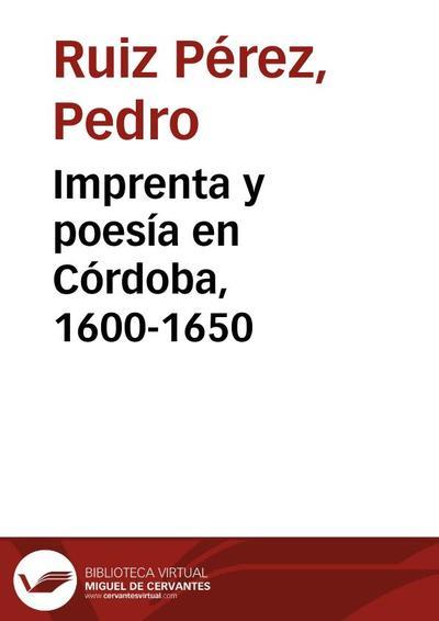 Imprenta y poesía en Córdoba, 1600-1650