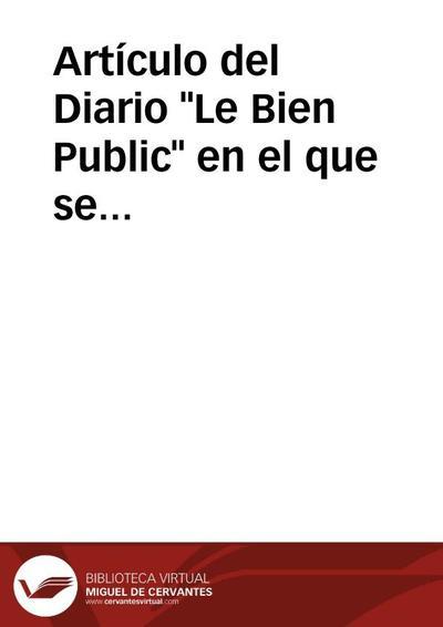 Artículo del Diario Le Bien Public en el que se describe los hallazgos arqueológicos realizados por los hermanos Siret en el Sureste de la Península Ibérica