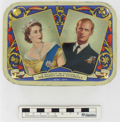 tin/toffee: Souvenir of the coronation of her majesty Queen Elizabeth II June 1953.