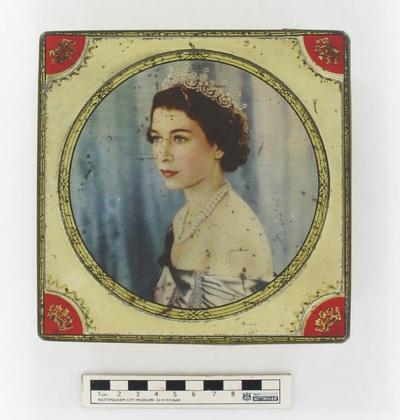 tin/chocolate: A souvenir of the coronation of HM the Queen Elizabeth II 1953.