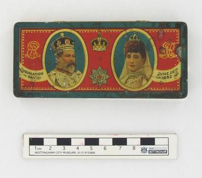 tin/chocolate: Coronation day June 26th 1902.