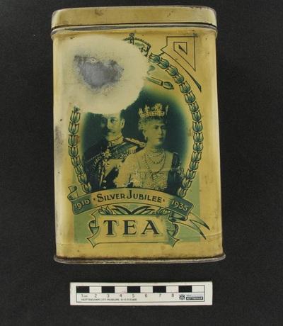 tea caddy: 1910 Silver Jubilee 1935.