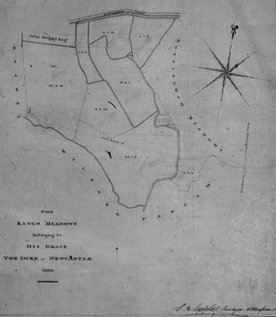 map: The Kings Meadow Belonging to His Grace the Duke of Newcastle 1830
