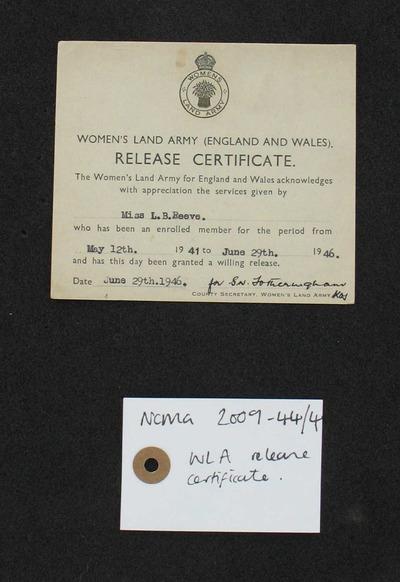 certificate: Women's Land Army Release Certificate
