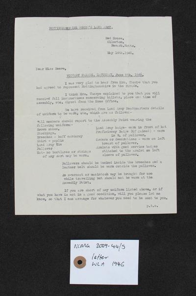 letter: Nottinghamshire Women's Land Army