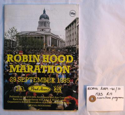official programme: 1985 Pork Farms Robin Hood Marathon Nottingham 29th September